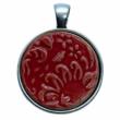 Kézműves piros, virágos porcelán korong (25mm)
