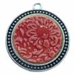 Kézműves piros, virágos porcelán korong (30mm)