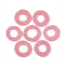Rózsaszín kézzel készült rattan medál