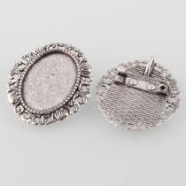 Antikolt ezüst színű kitűzőalap (18x25mm)