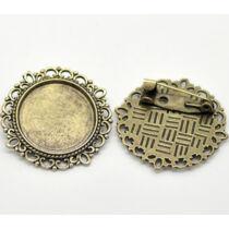 Antikolt bronz színű díszes kitűzőalap (20mm)
