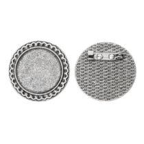 Antikolt ezüst színű kitűzőalap (25mm)