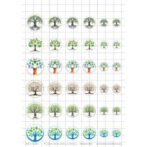 Eletfa-2 Üveglencsés ékszerpapír több méret 6 féle minta A5