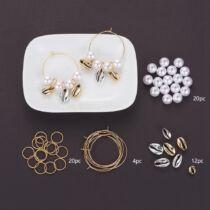 Arany gyöngyös kagylós fülbevaló készítő alkotócsomag