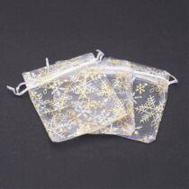 Karácsonyi arany-fehér organza tasak (10x12cm)
