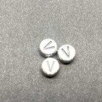 Műanyag ezüst színű kör v betűgyöngy (7mm)