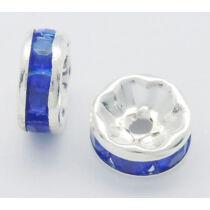 10db ezüst színű kék strasszos köztes (8x4mm)