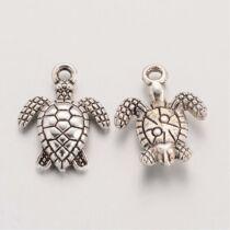Antikolt ezüst teknős fityegő