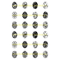 Fekete-fehér-1 Üveglencsés ékszerpapír 18x25mm 12 féle minta A5