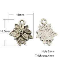Antikolt ezüst mikulás virág fityegő