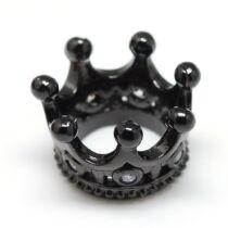 Korona fekete színű cirkónia gyöngy (11x7mm)