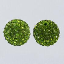 Strasszal díszített olivazöld színű gyöngy (8mm)