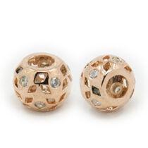 Strasszal díszített rozé arany cirkónia gyöngy (12mm)
