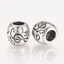 Antikolt ezüst színű hangjegy mintás gyöngy (11x10mm)