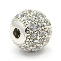 Strasszal díszített ezüst színű cirkónia gyöngy (8mm)