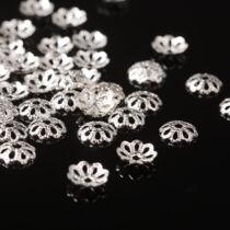 10db Ezüst színű lapos gyöngykupak (6mm)