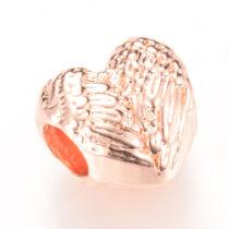 Rozé arany színű szív alakú gyöngy (11x11x8mm)