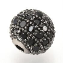 Strasszal díszített gunmetál színű cirkónia gyöngy (10mm)
