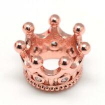 Korona rozé arany színű cirkónia gyöngy (11x7mm)