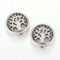 Antikolt ezüst színű életfa mintás lapított gyöngy (18x4mm)