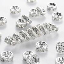 10db ezüst színű strasszos köztes (6x3mm)
