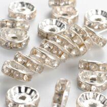 10db ezüst színű strasszos köztes (10x4mm)