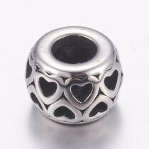 Nemesacél szív mintás gyöngy (12x9mm)