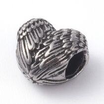 Nemesacél szárny szív gyöngy (12x10mm)