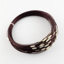 Sötét barna rozsdamentes acél drót nyaklánc
