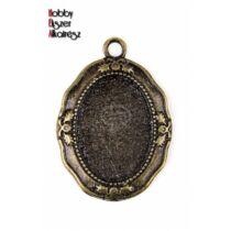 Antikolt bronz színű reneszánsz medálalap (18x25mm)