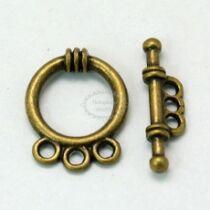 Antikolt bronz színű három hurkos T-kapocs