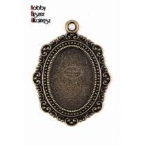 Antikolt bronz színű barokk medálalap (18x25mm)