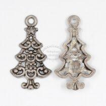 Antikolt ezüst színű fenyőfa fityegő