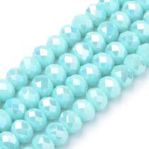 10db Csiszolt világos kék üveggyöngy (8x6mm)
