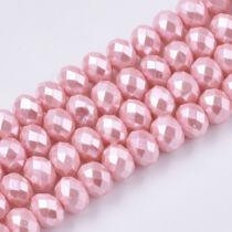 10db Csiszolt rózsaszín üveggyöngy (8x6mm)