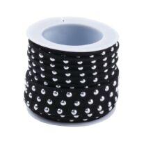 Fekete színű ezüst szegecses hasított bőrszál (5mm)