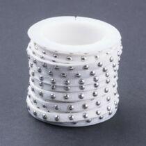 Fehér színű ezüst szegecses hasított bőrszál (5mm)