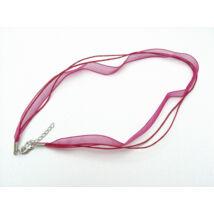 Sötét rózsaszínű organza nyaklánc