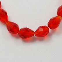 10db piros csiszolt üveggyöngy (11x8mm)