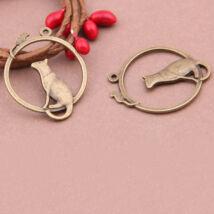 Antikolt bronz cicás medál (1db)