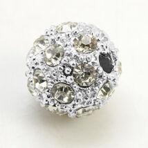 Strasszal díszített ezüst színű gyöngy (10mm)