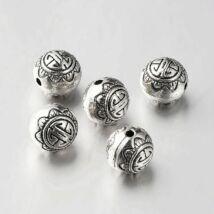 1db Antikolt ezüst színű golyó alakú gyöngy (10mm)