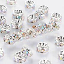 10db ezüst színű színjátszós strasszos köztes (8x4mm)