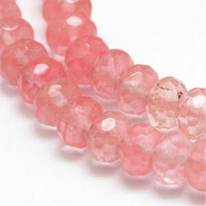 Csiszolt cherry quartz ásványgyöngy (8x5mm)/10db