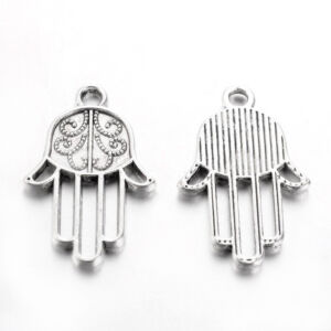 Antikolt ezüst színű hamsa kéz fityegő