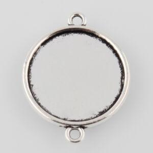 Antikolt ezüst színű sima kapcsolóelem (25mm)