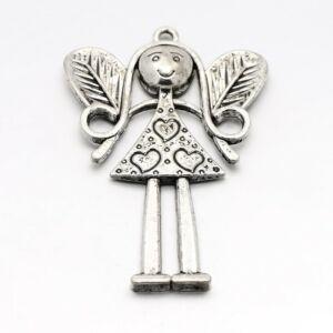 Antikolt ezüst színű angyal medál