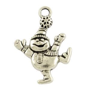 Antikolt ezüst színű táncoló hóember fityegő