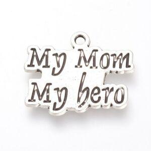 Antikolt ezüst színű my mom my hero fityegő