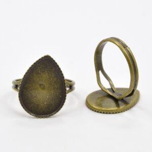 Antikolt bronz színű csepp alakú gyűrűalap (13x18mm)